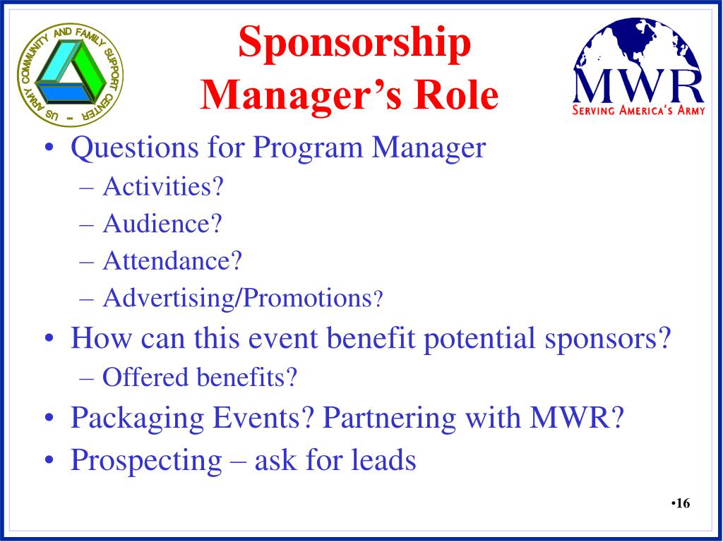 Sponsorship Manager's Role