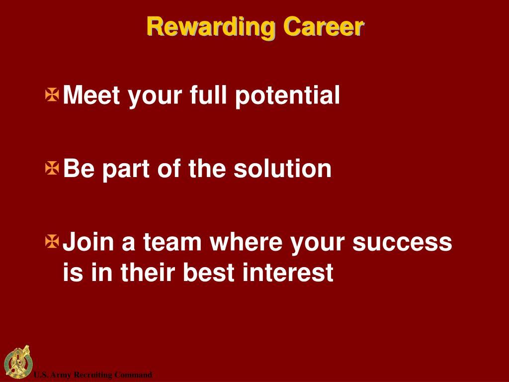 Rewarding Career
