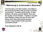 well being is commander s business