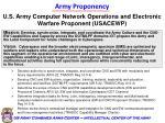 army proponency