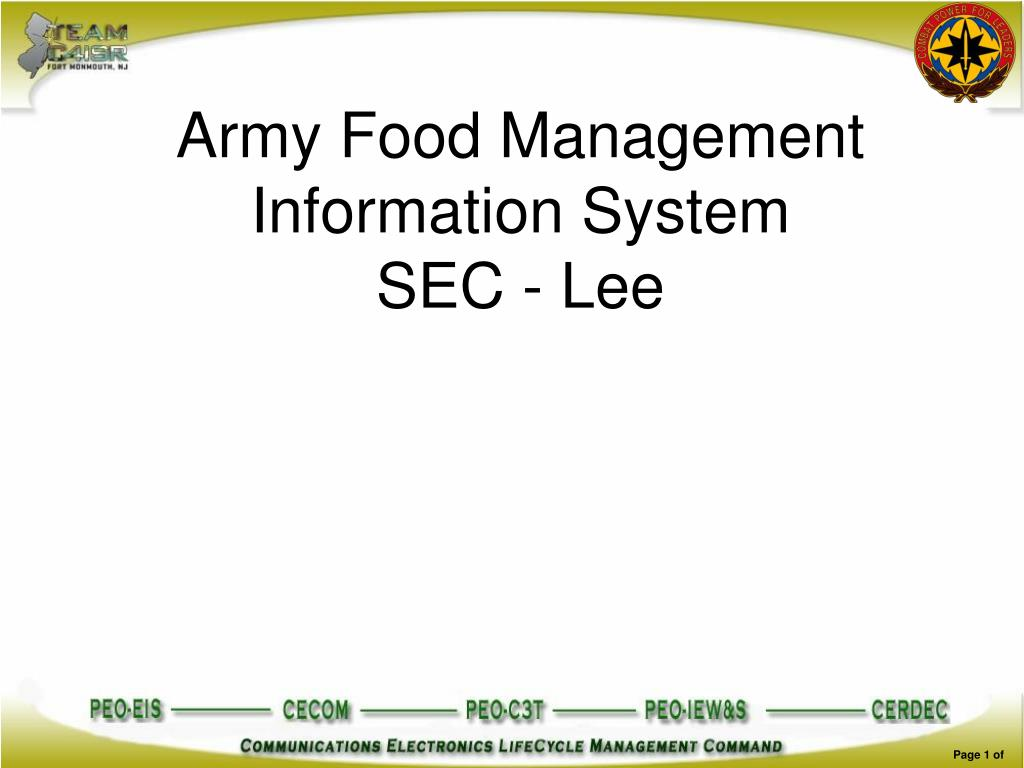 army food management information system sec lee l.