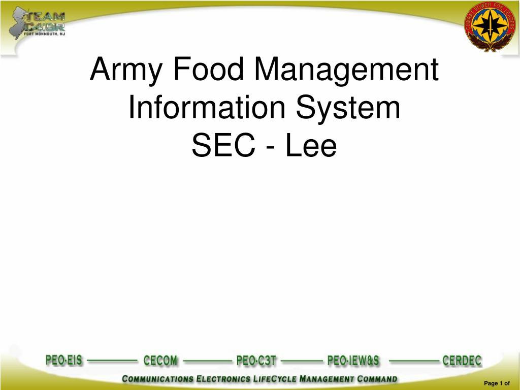 army food management information system sec lee l.
