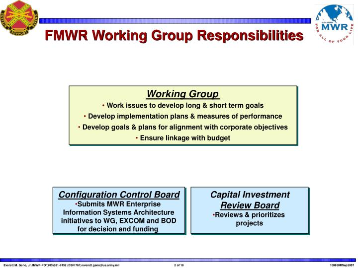 Fmwr working group responsibilities