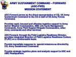 army sustainment command forward asc fwd mission statement