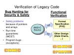 verification of legacy code