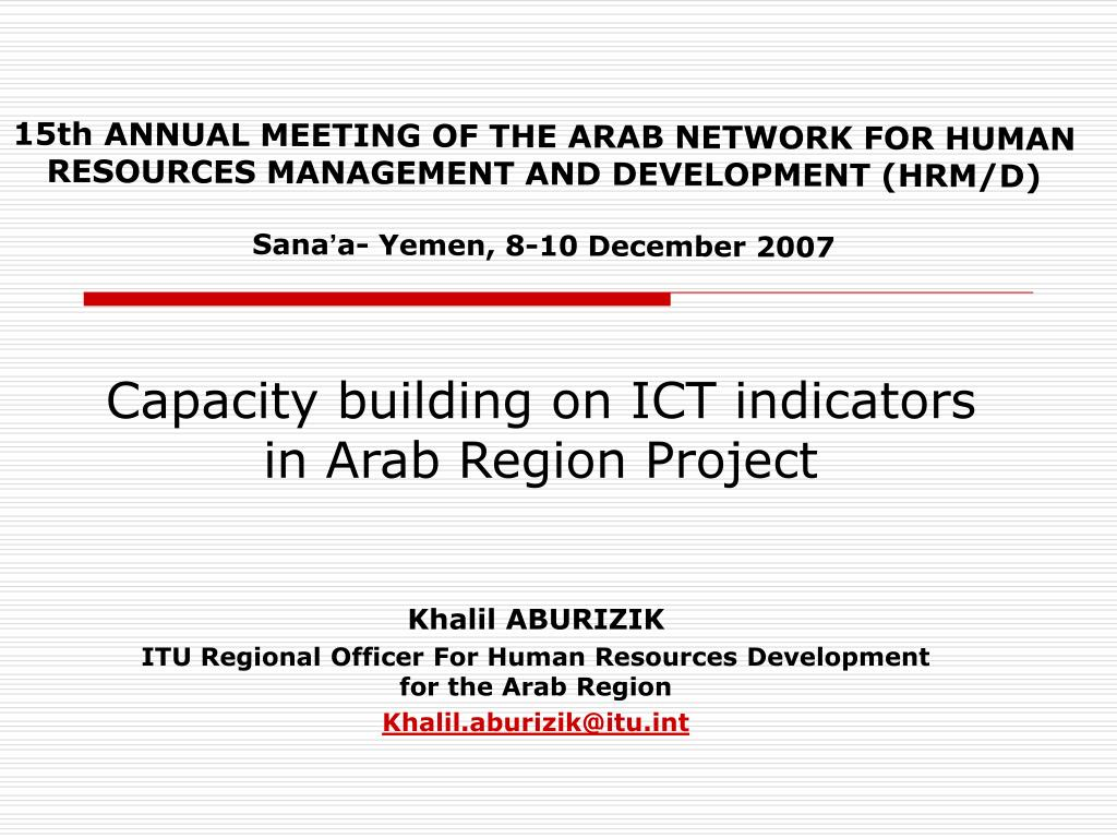 capacity building on ict indicators in arab region project l.