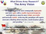 what drives army research the army vision