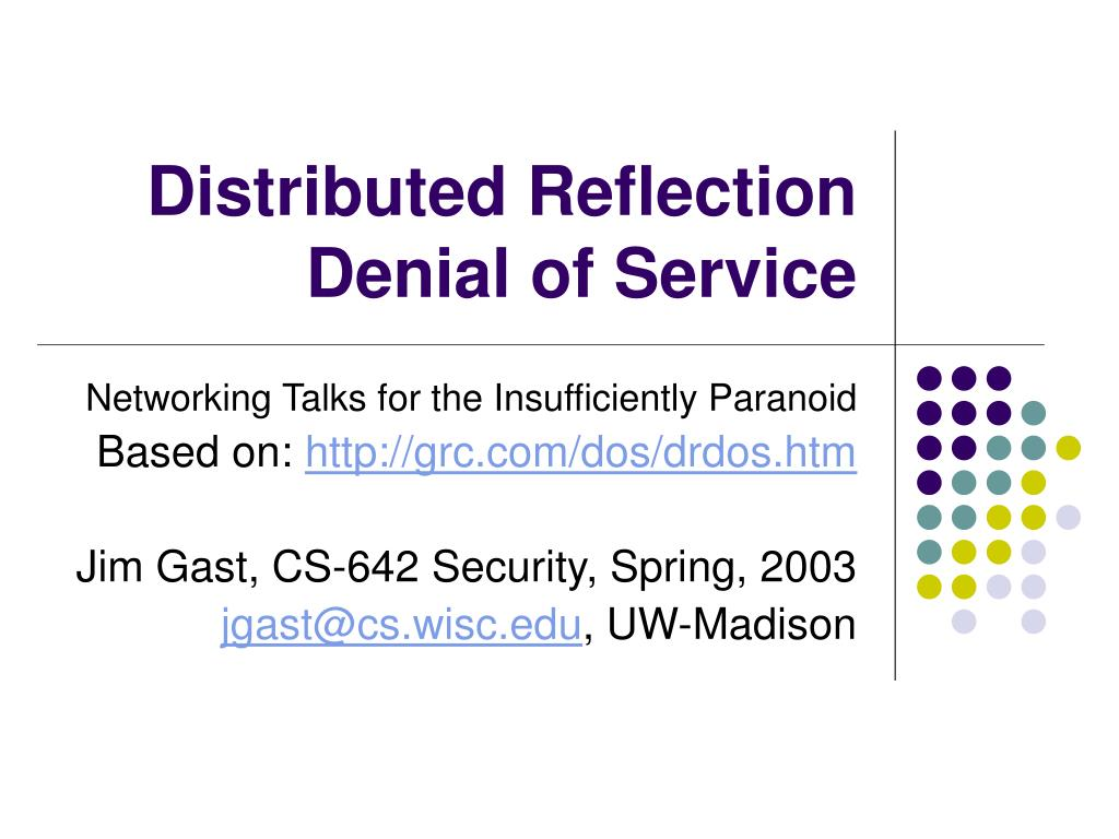 distributed reflection denial of service l.