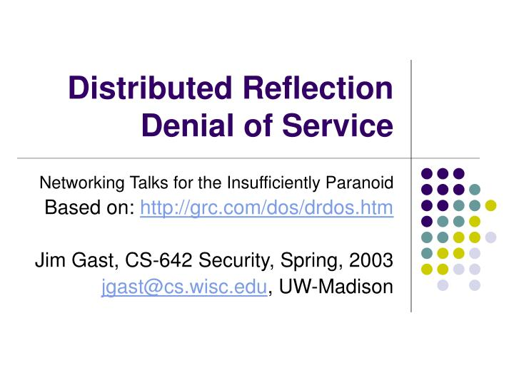 Distributed reflection denial of service