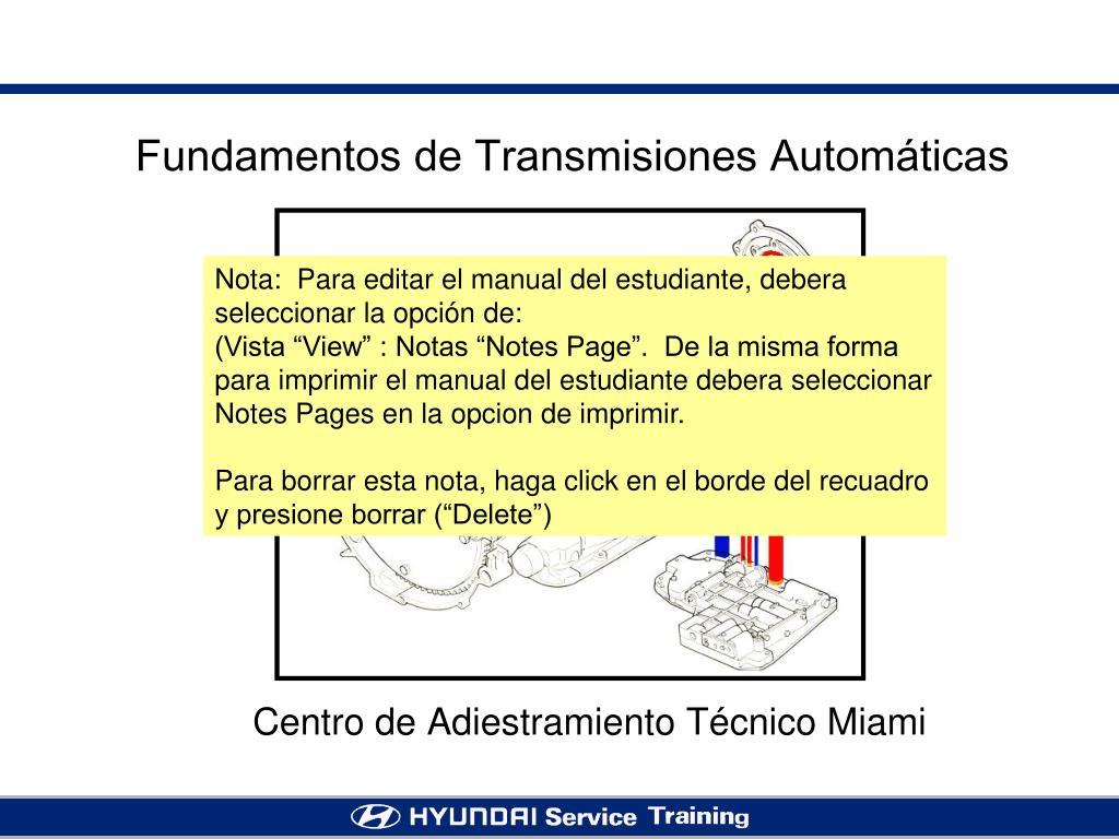 fundamentos de transmisiones autom ticas l.