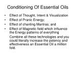 conditioning of essential oils
