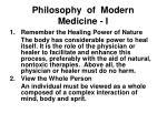philosophy of modern medicine i