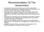 recommendation to the government