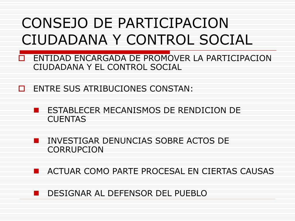 CONSEJO DE PARTICIPACION CIUDADANA Y CONTROL SOCIAL