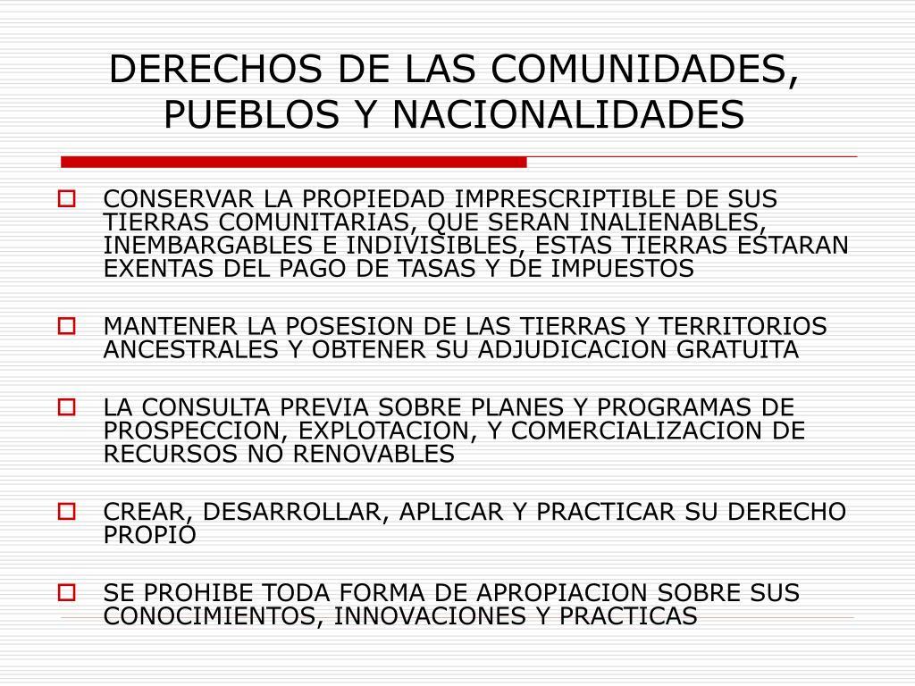 DERECHOS DE LAS COMUNIDADES, PUEBLOS Y NACIONALIDADES