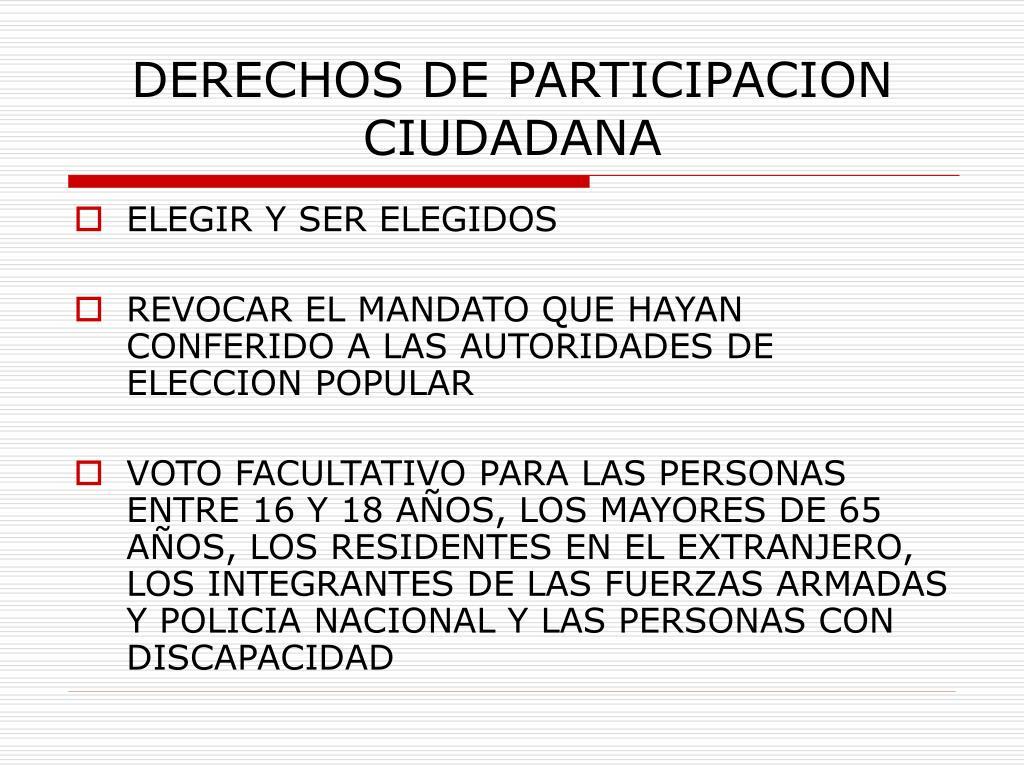 DERECHOS DE PARTICIPACION CIUDADANA