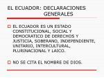 el ecuador declaraciones generales