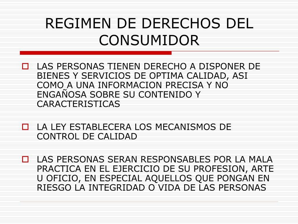 REGIMEN DE DERECHOS DEL CONSUMIDOR