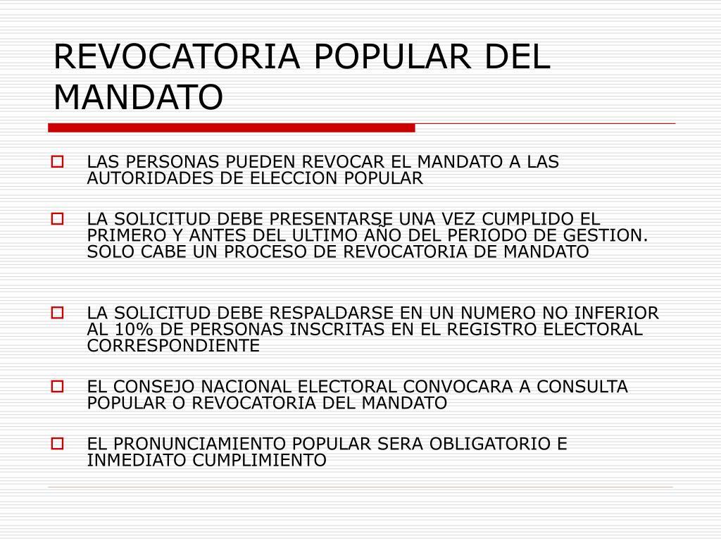 REVOCATORIA POPULAR DEL MANDATO