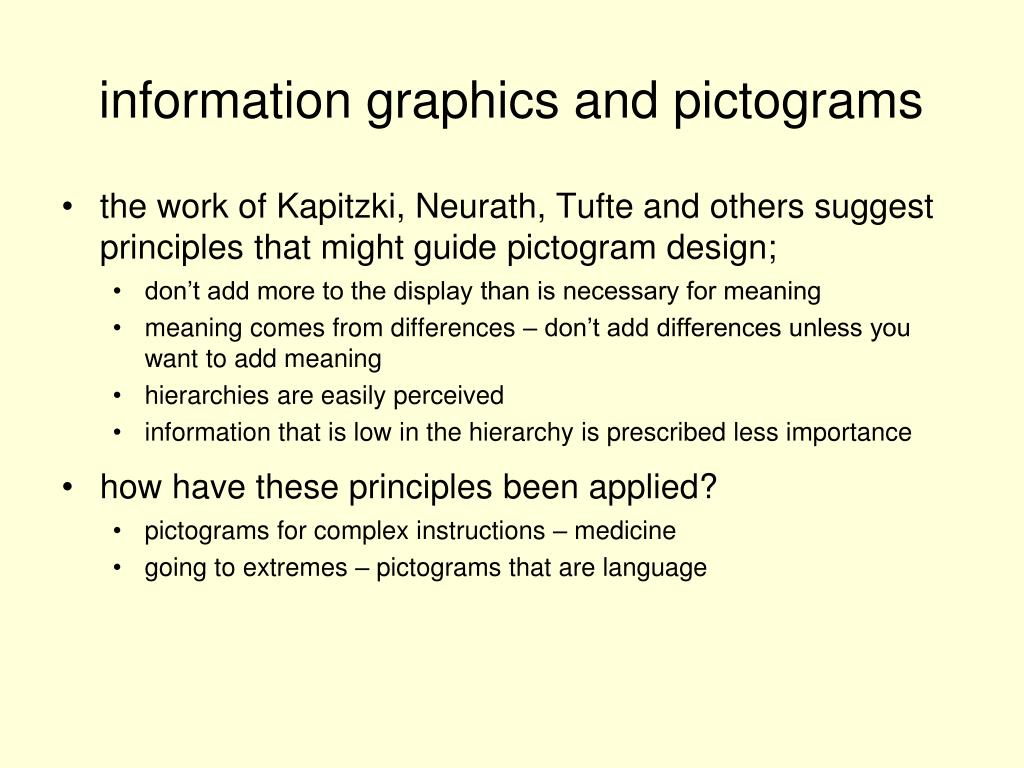 the work of Kapitzki, Neurath, Tufte and others suggest principles that might guide pictogram design;