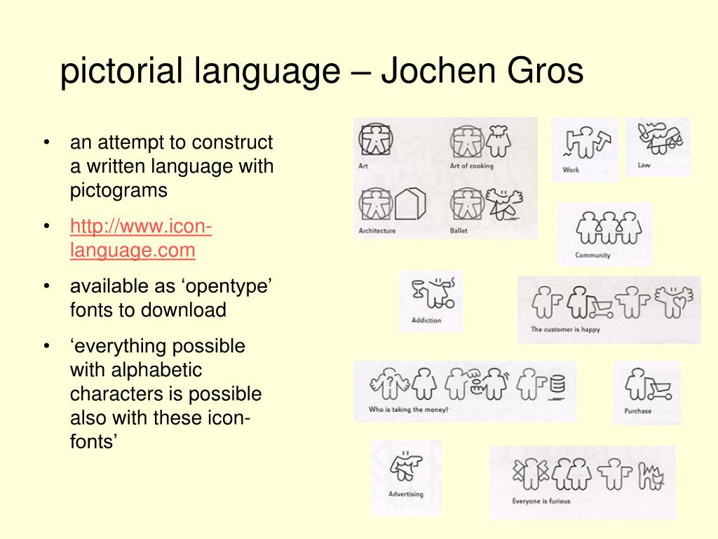 an attempt to construct a written language with pictograms