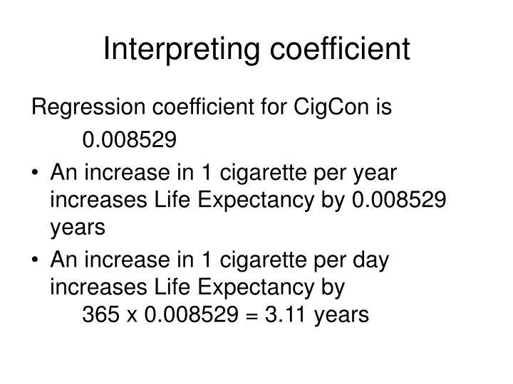 Interpreting coefficient