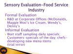 sensory evaluation food service industry