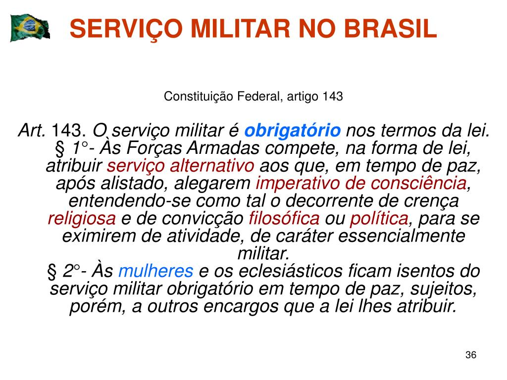 SERVIÇO MILITAR NO BRASIL