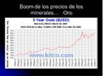 boom de los precios de los minerales oro