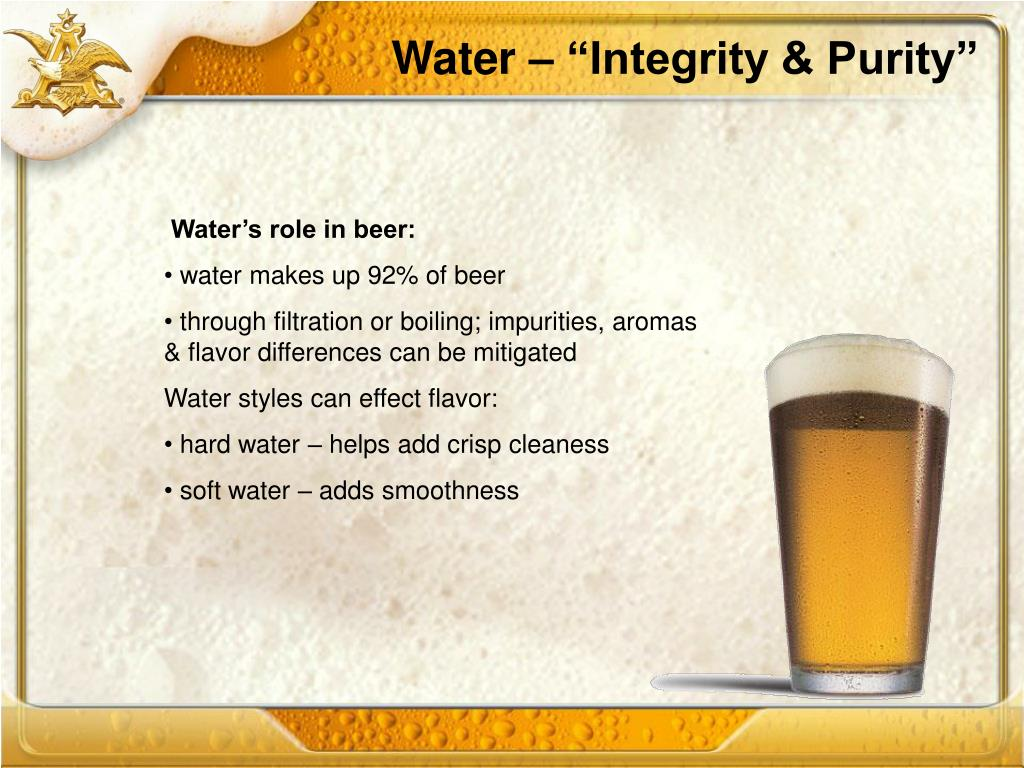 """Water – """"Integrity & Purity"""""""