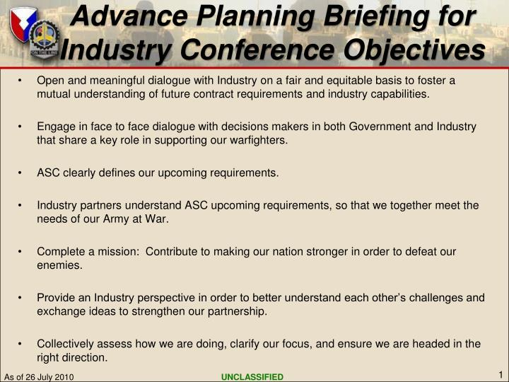 advance planning briefing for industry conference objectives n.