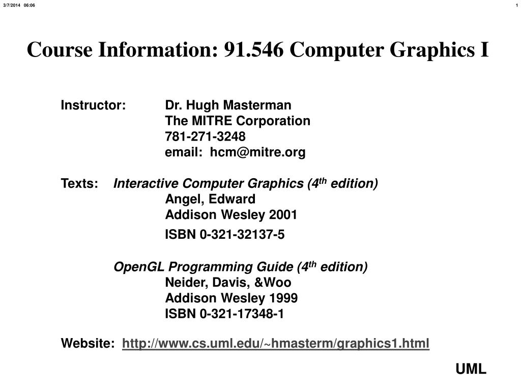 course information 91 546 computer graphics i l.