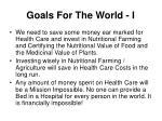 goals for the world i
