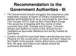 recommendation to the government authorities iii