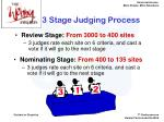 3 stage judging process