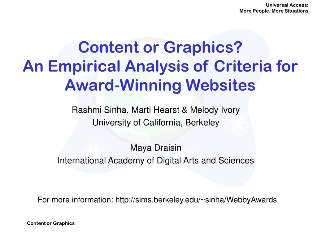 content or graphics an empirical analysis of criteria for award winning websites l.