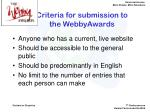 criteria for submission to the webbyawards