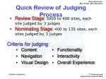 quick review of judging process