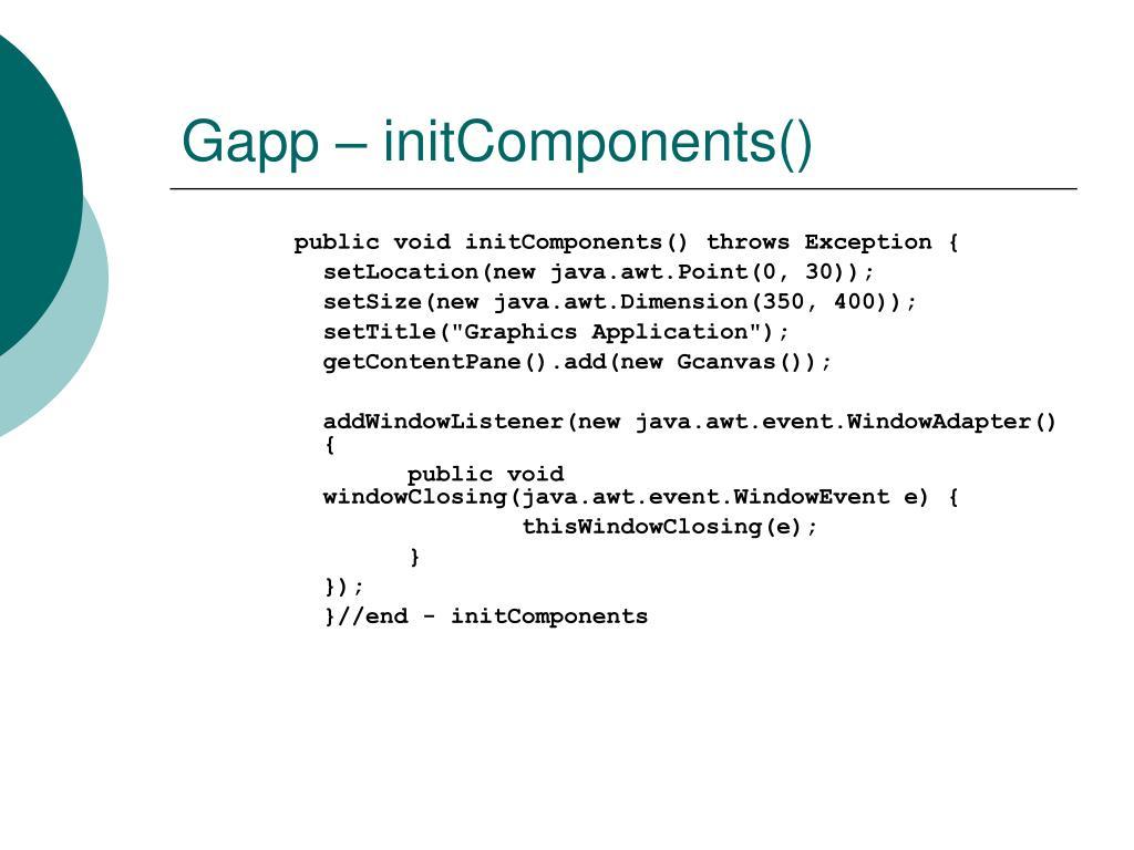 Gapp – initComponents()