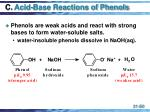 c acid base reactions of phenols