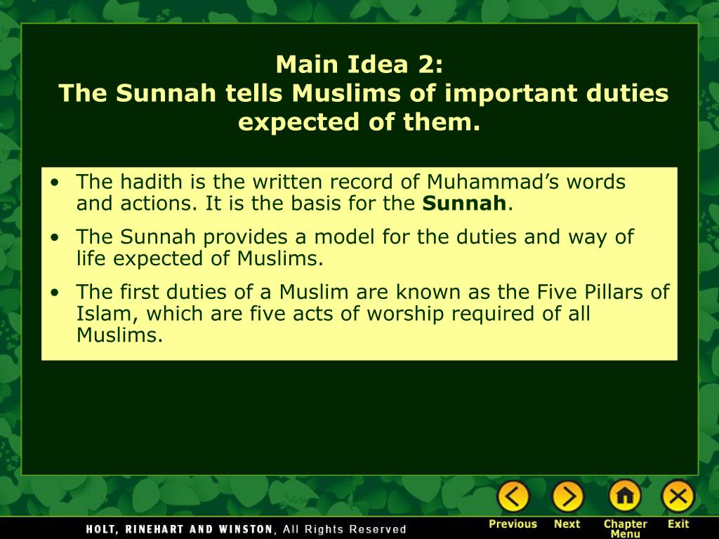 The hadith is the written record of Muhammad's words and actions. It is the basis for the