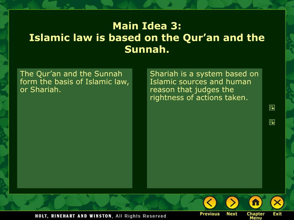The Qur'an and the Sunnah form the basis of Islamic law, or Shariah.