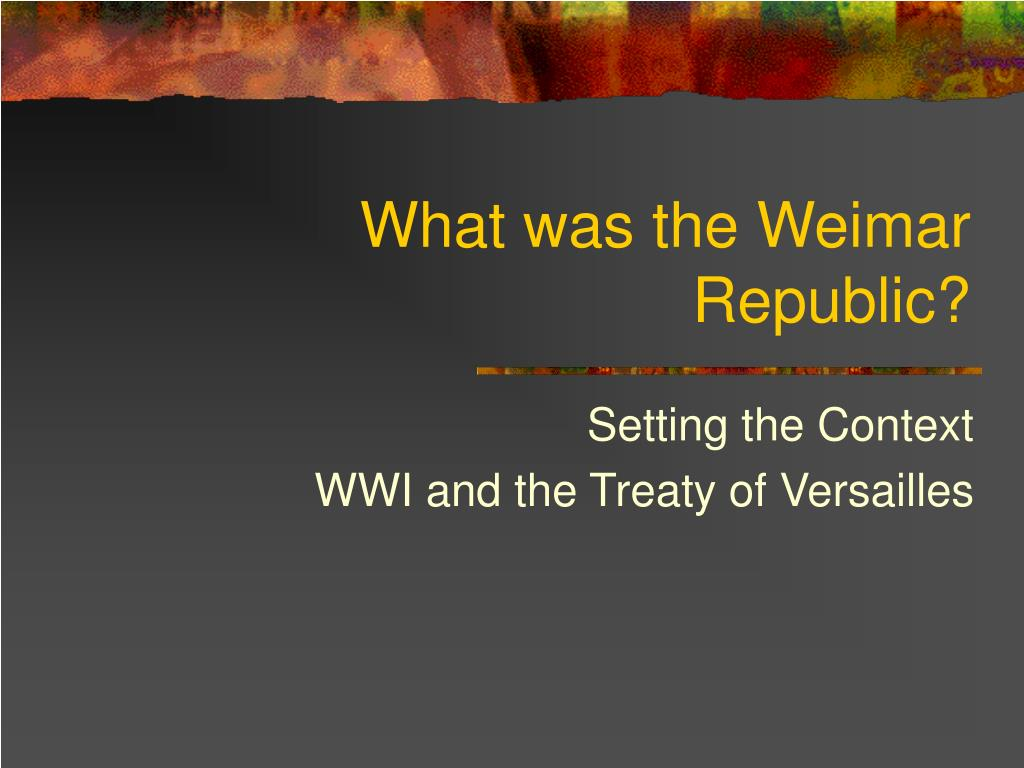 what was the weimar republic l.
