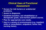 clinical uses of functional assessment