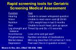 rapid screening tools for geriatric screening medical assessment