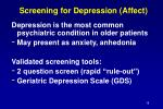 screening for depression affect