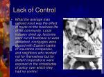 lack of control