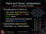 hand and glove compression genus 0 triangulated manifolds