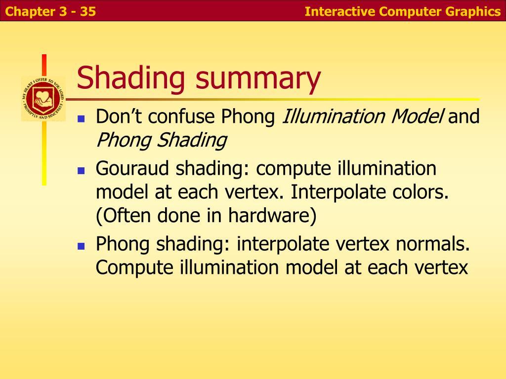 Shading summary