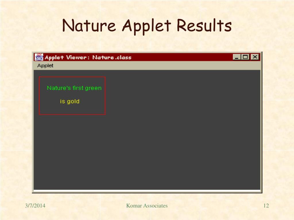 Nature Applet Results